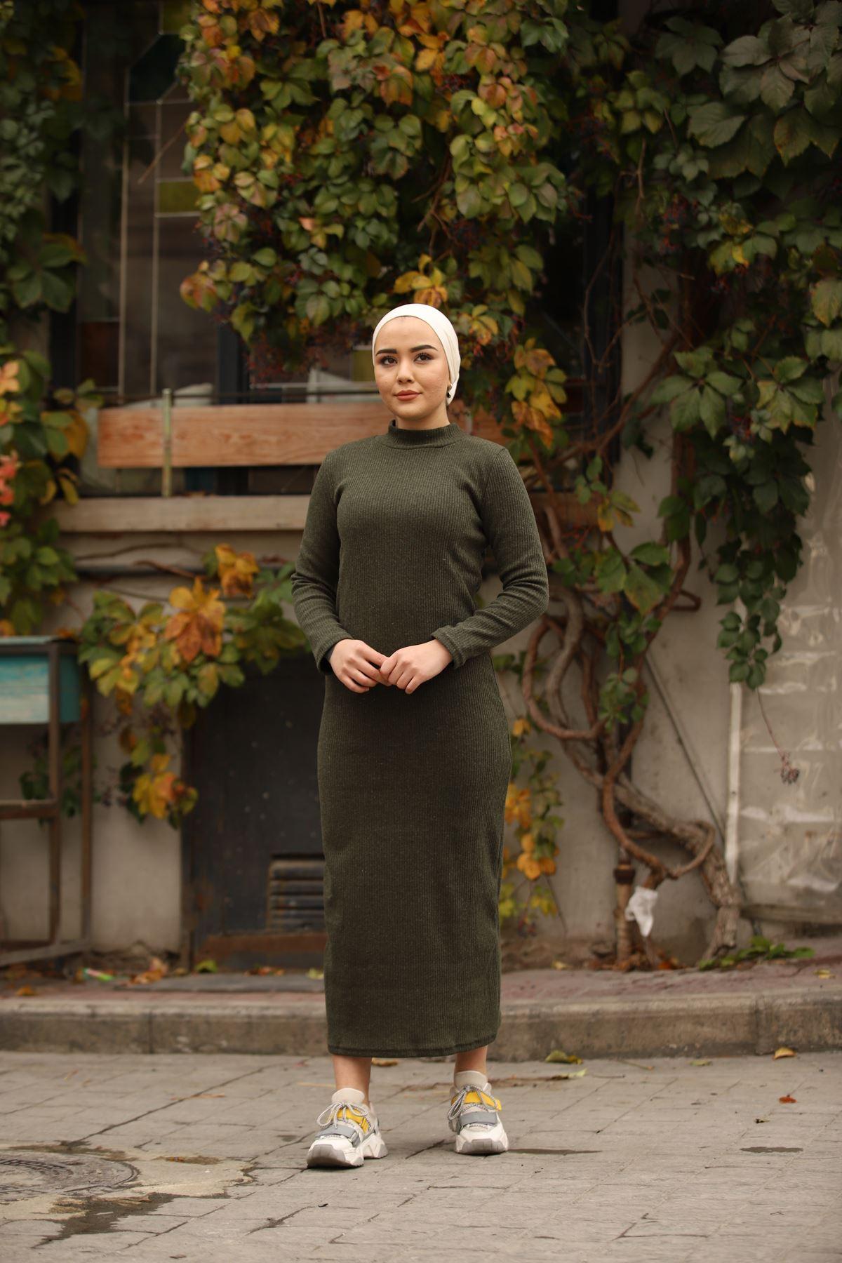 Fitilli Elbise - Haki