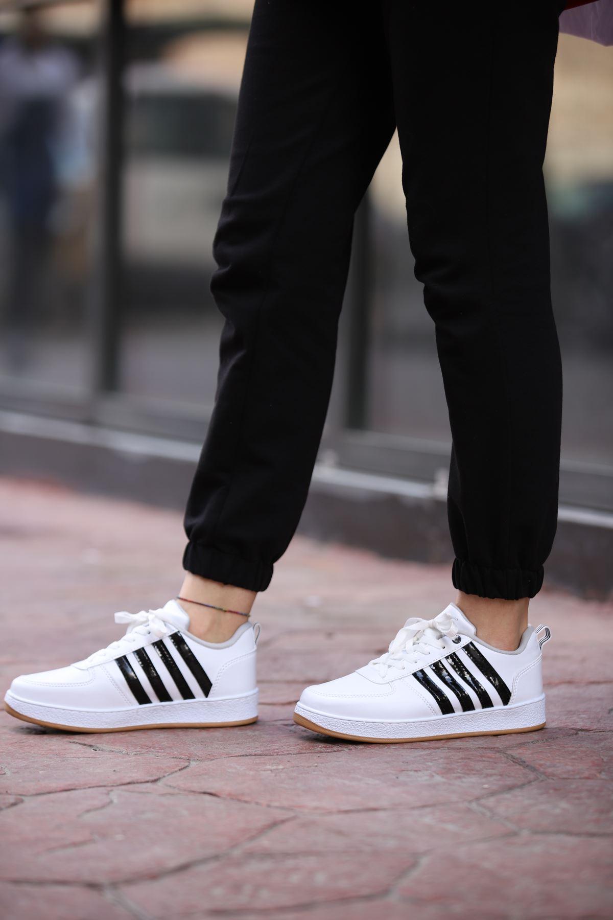 Süperstar Çizgili Spor Ayakkabı - Beyaz-Siyah