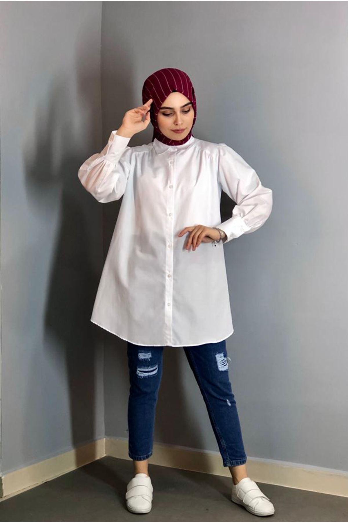 Kalın Manşetli Mevlana Tunik Gömlek - Beyaz