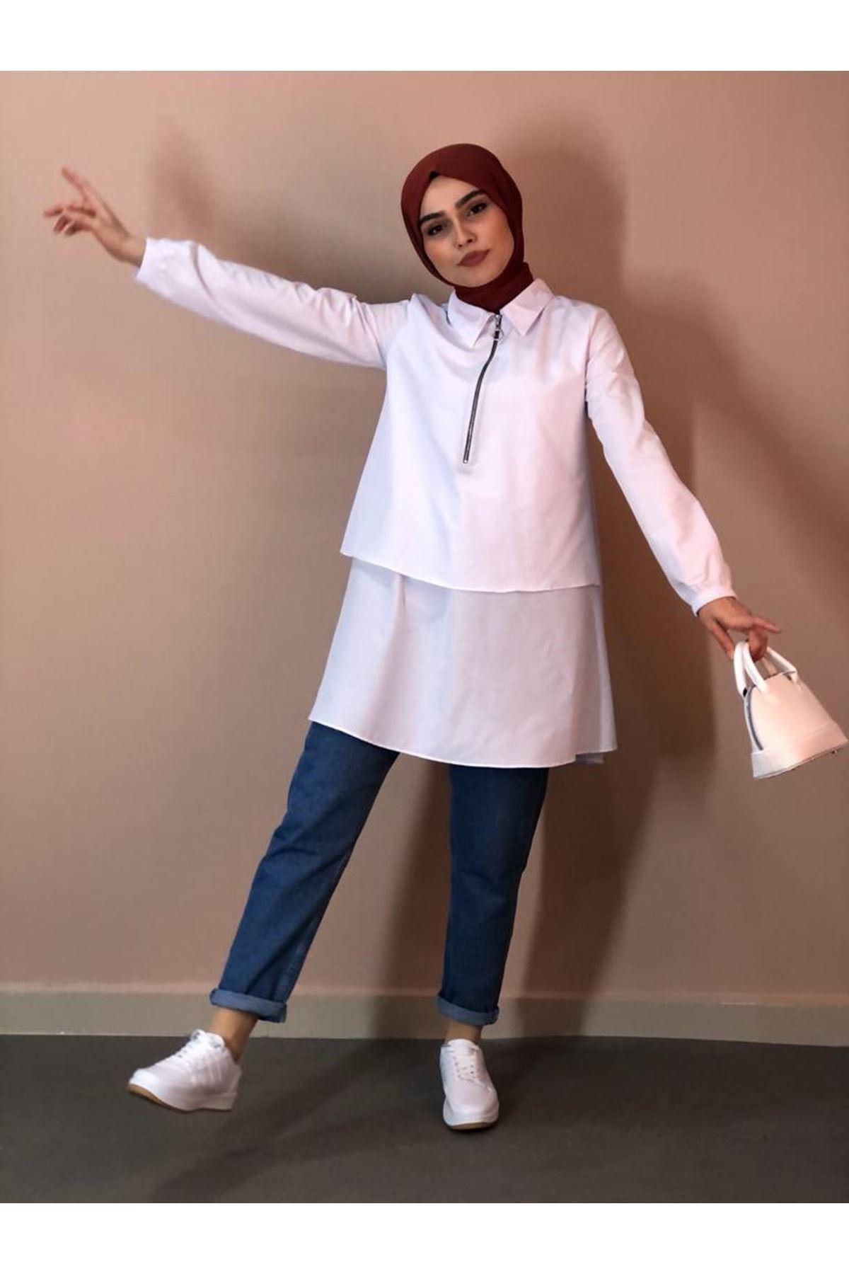 Fermuarlı Mevlana Gömlek -Beyaz
