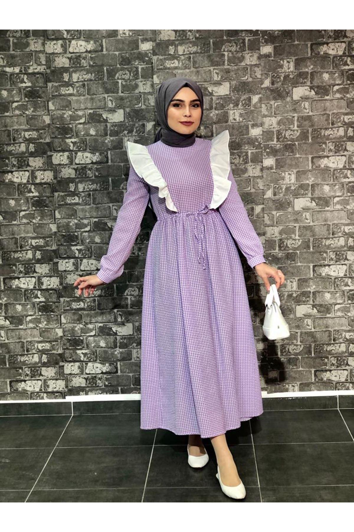 Fırfırlı Pötikare Elbise- Lila