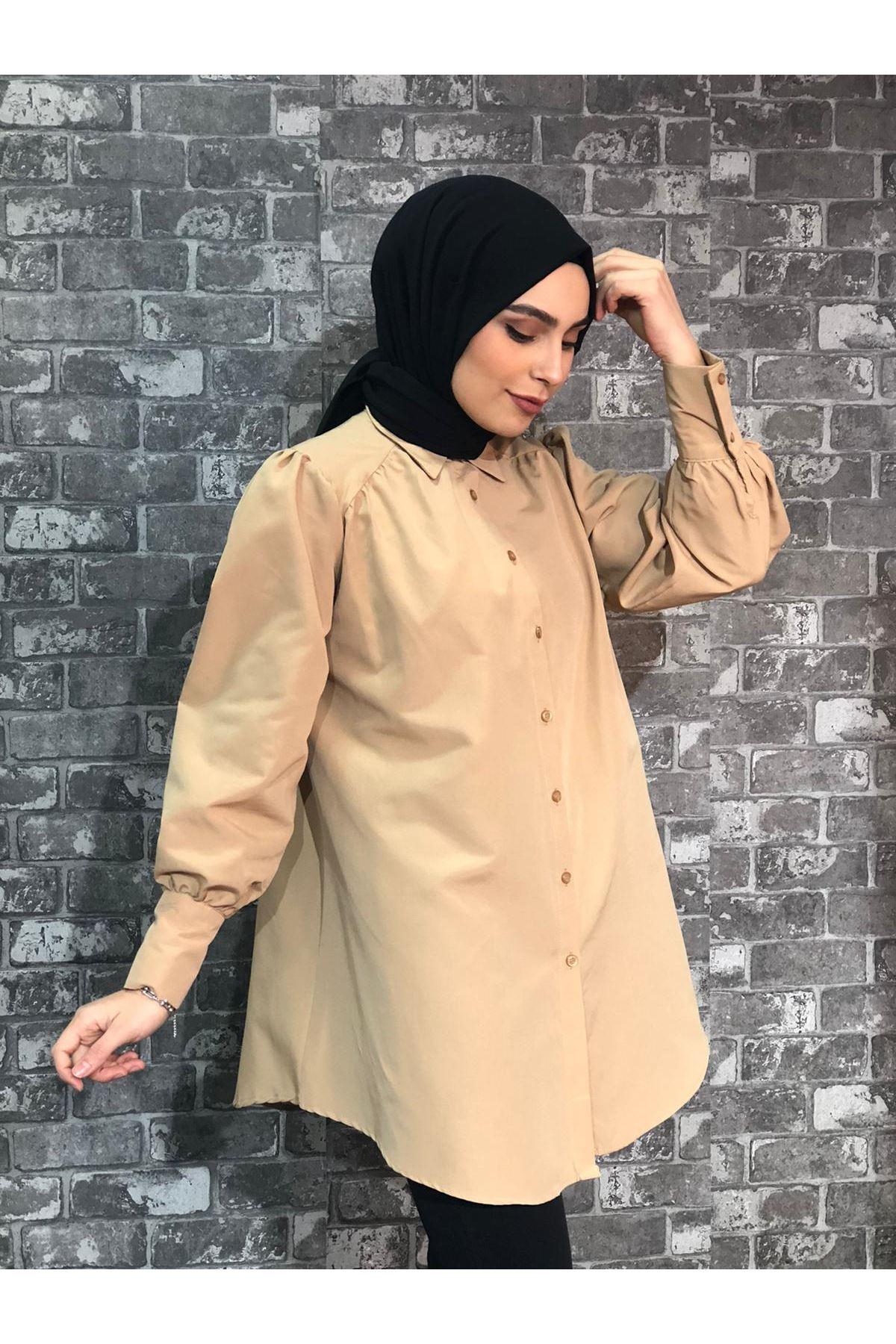 Kalın Manşetli Mevlana Tunik Gömlek - Camel