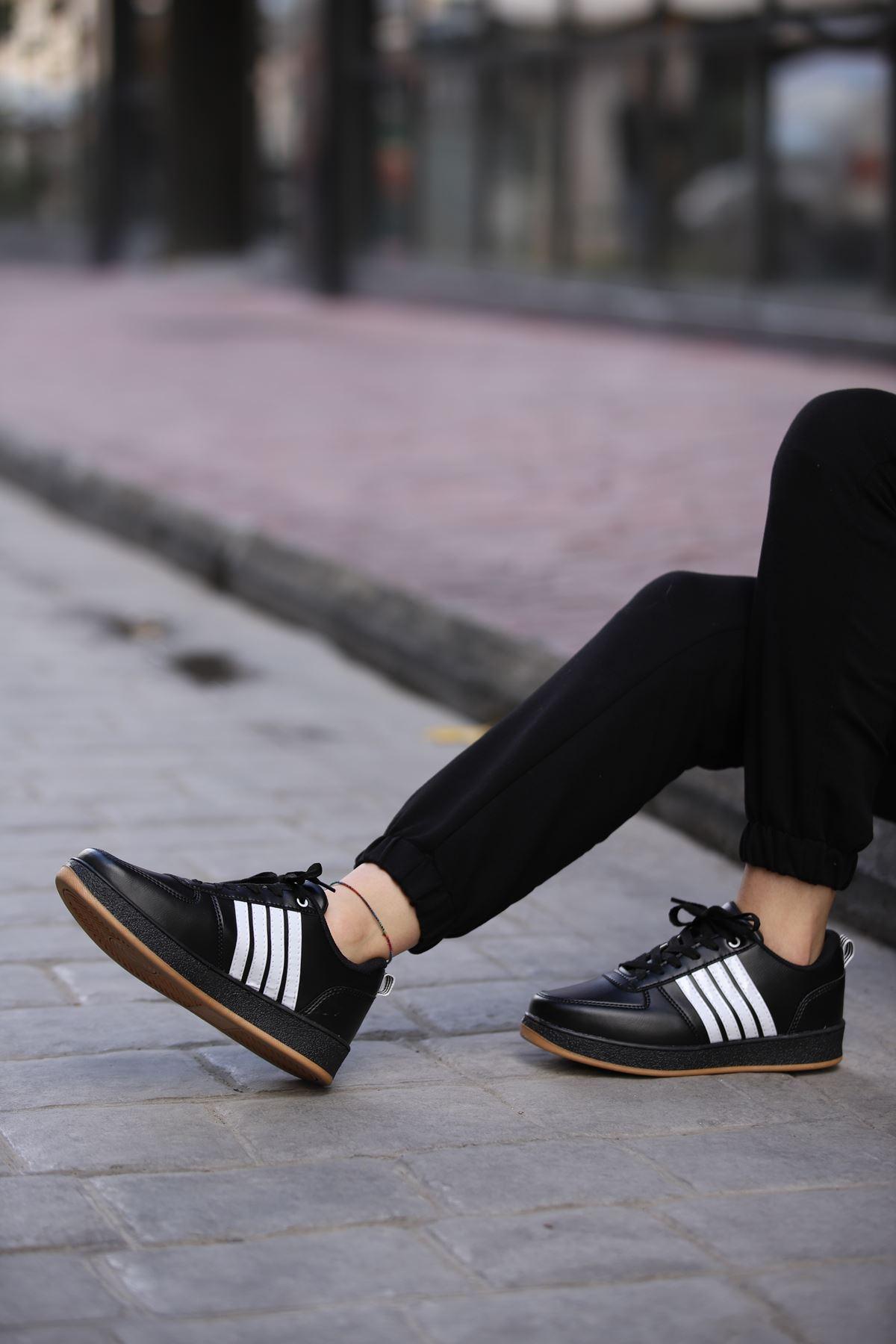 Süperstar Çizgili Spor Ayakkabı - Siyah-Beyaz