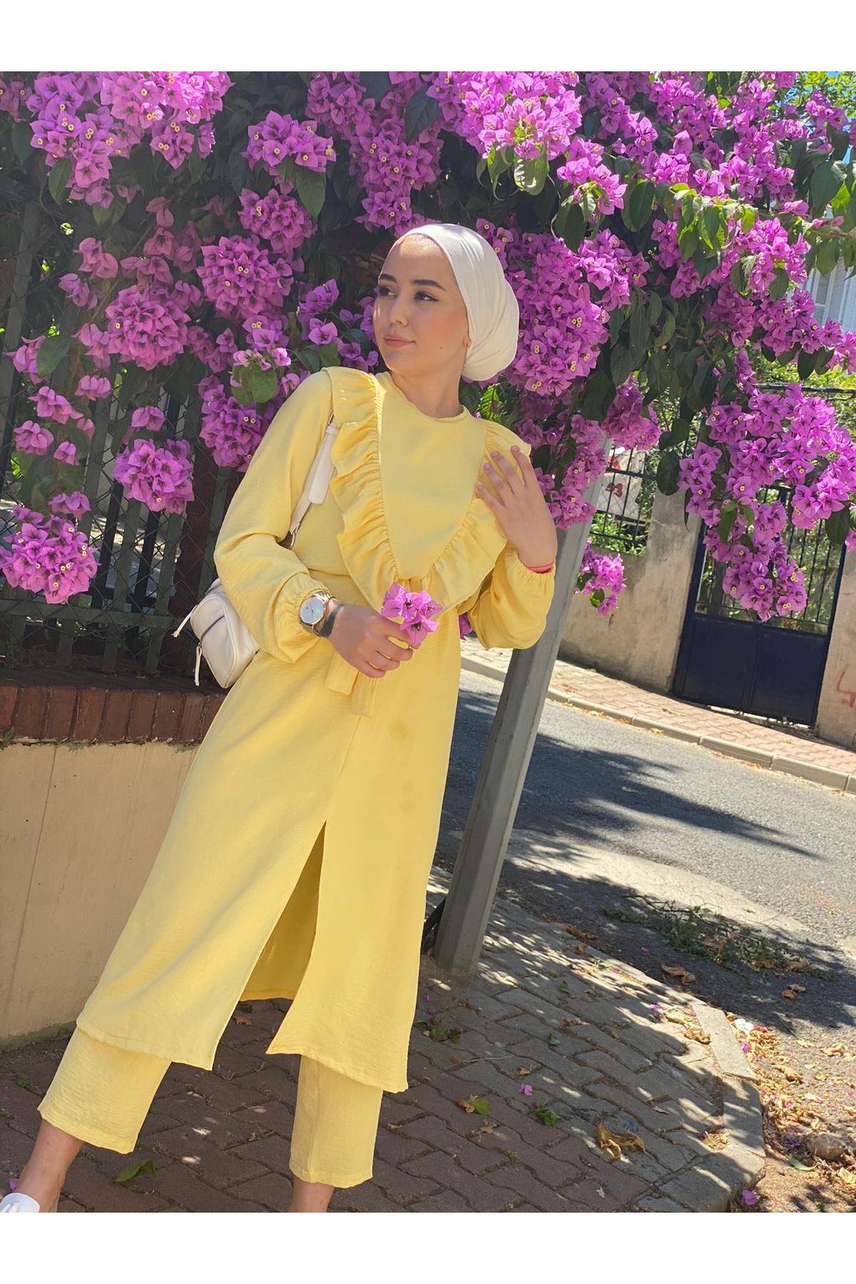 Ayrobin Fırfırlı Takım - Sarı