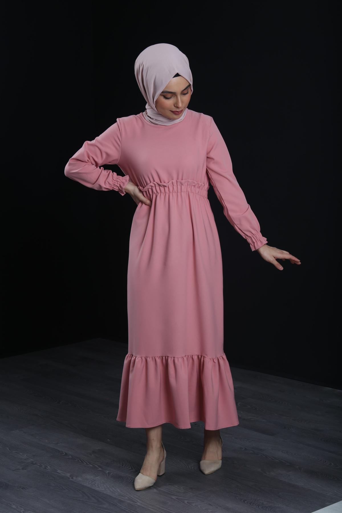 Erva Tesettür Elbise - GÜL KURUSU