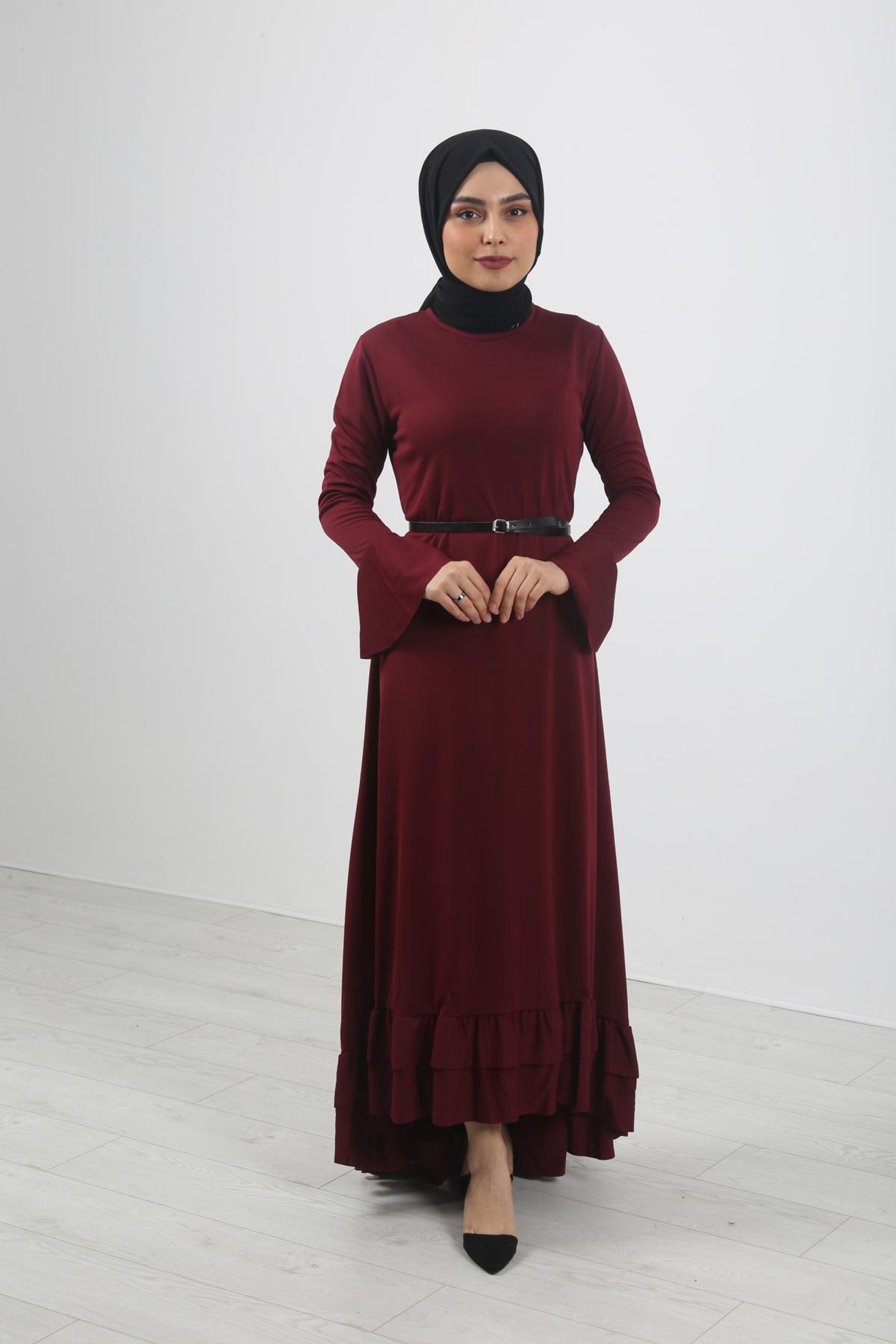 Fırfır Kuyruklu Tesettür  Elbise - Bordo