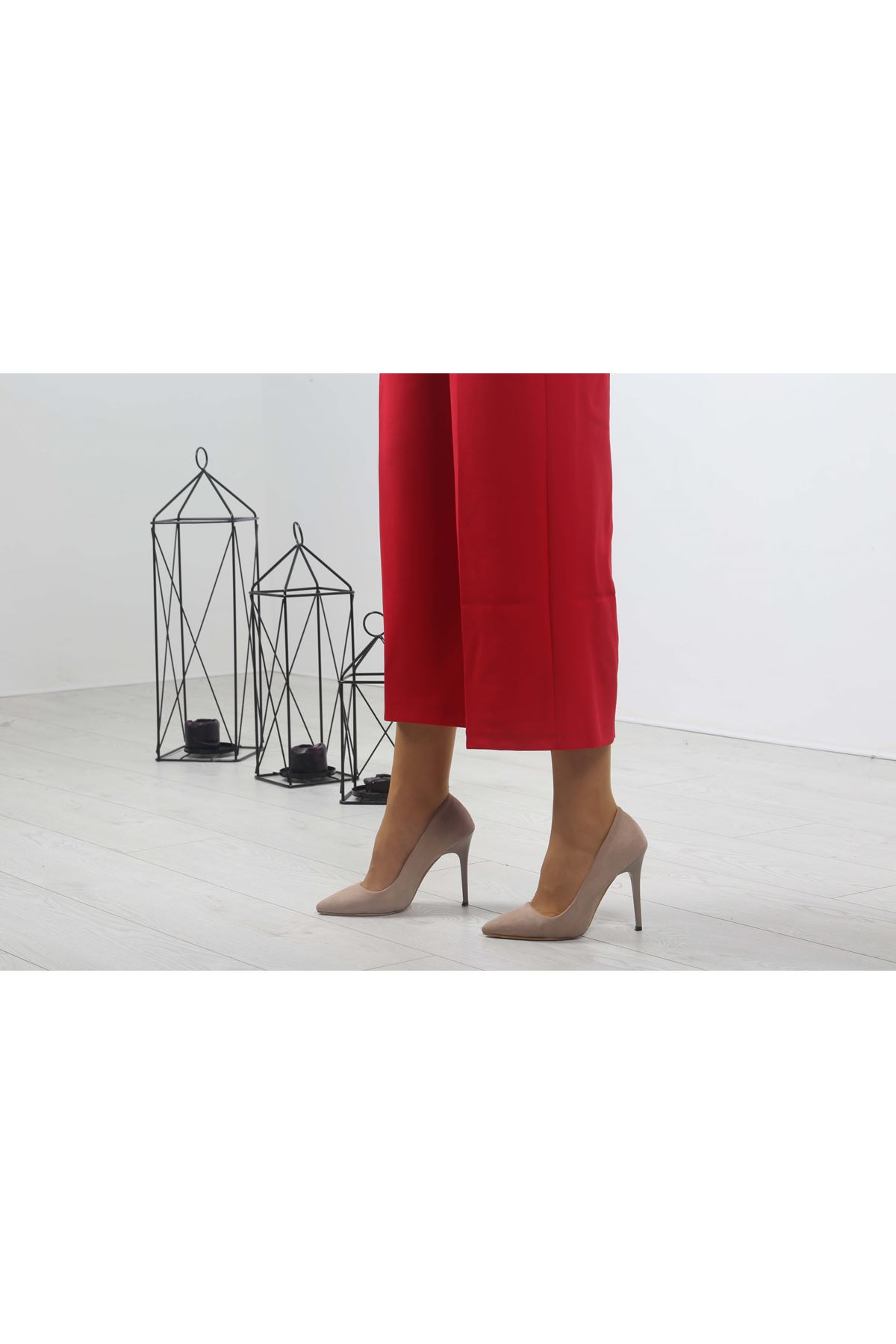 Beli Lastikli Bol Paça Pantolon - Kırmızı