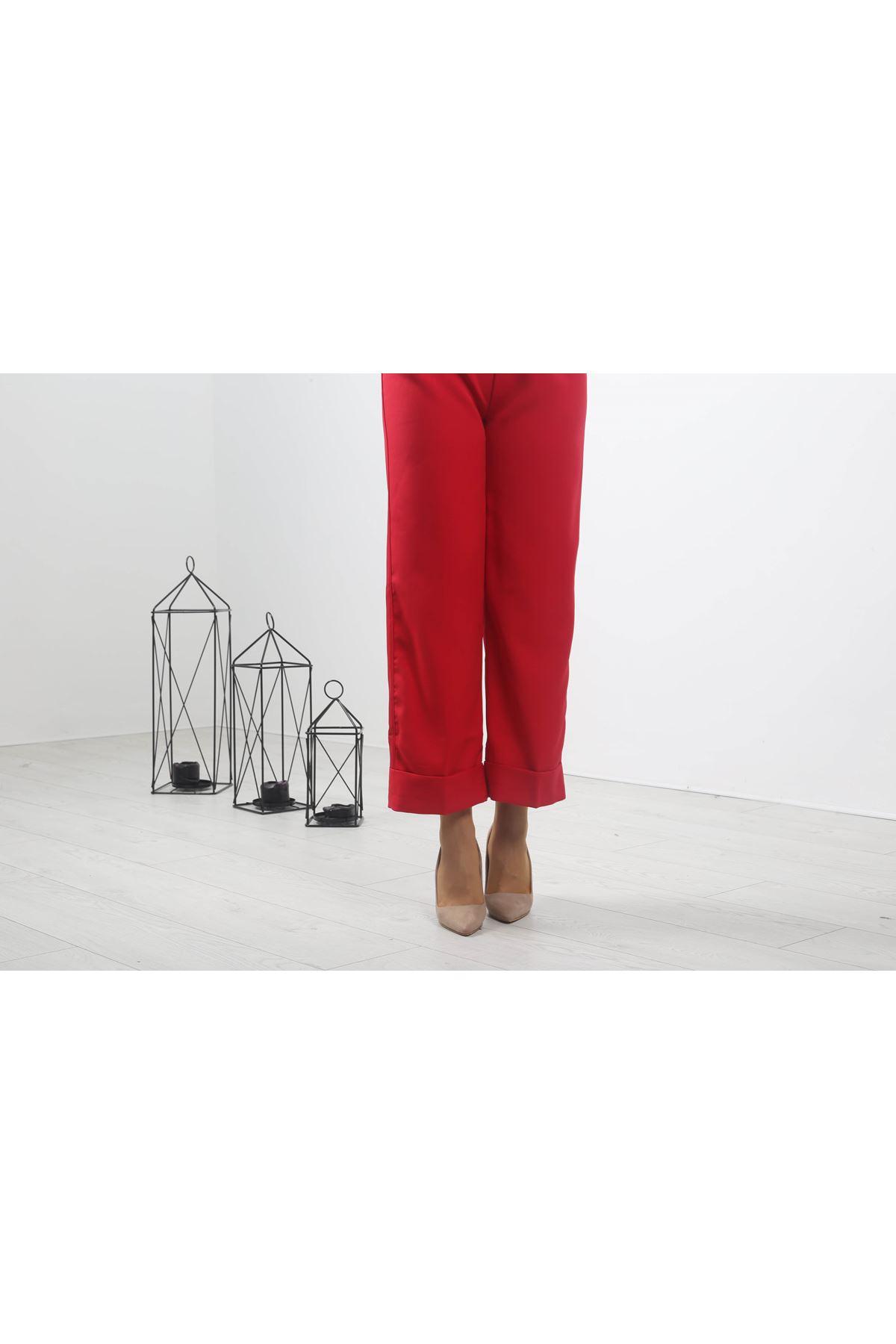 Duble Paça Pantolon - Kırmızı