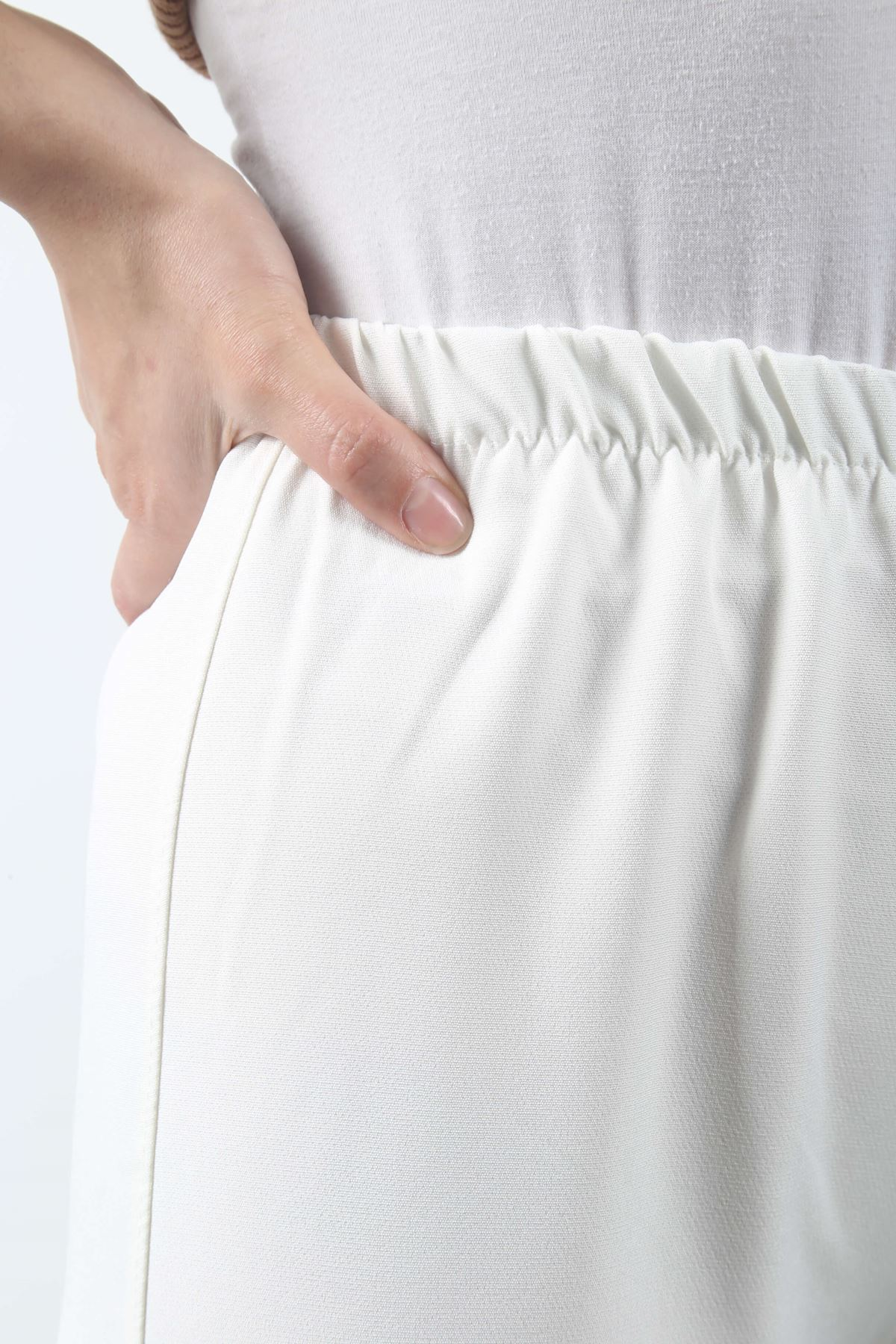 Duble Paça Pantolon - Beyaz