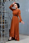 Fırfır Kuyruklu Tesettür  Elbise - Taba
