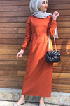 Kemerli Tesettür Kalem Elbise - KİREMİT