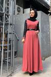 Pırıltı Tesettür Elbise - GÜL KURUSU