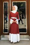 Sandy Soleli Tesettür Elbise - KİREMİT