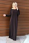 Yarasa Kol Tesettür Ferace - Kahverengi