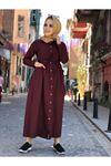Yazlık Düğmeli Cep Detay Tesettür Elbise - Bordo