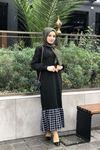Etek Ucu Ekoseli Elbise - SİYAH