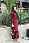 Merida Kemerli Kadife Elbise - BORDO