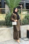 Merida Kemerli Kadife Elbise - HAKİ