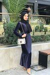 Merida Kemerli Kadife Elbise - LACİVERT