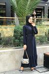 Selanik Kemerli Elbise - LACİVERT
