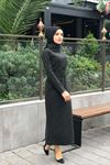 Kazayağı Desen Kemerli Elbise - HAKİ