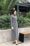 Kazayağı Desen Kemerli Elbise - SİYAH