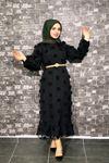 Ponpon Detaylı Kemerli Elbise - Siyah