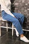 Boyfriend Çizgili Paça Kot Pantolon - Açık Mavi