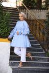 Alin Yarasa Kol Tunik Gömlek - Buz Mavi