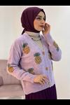 Ananas Desenli Triko Hırka- LİLA